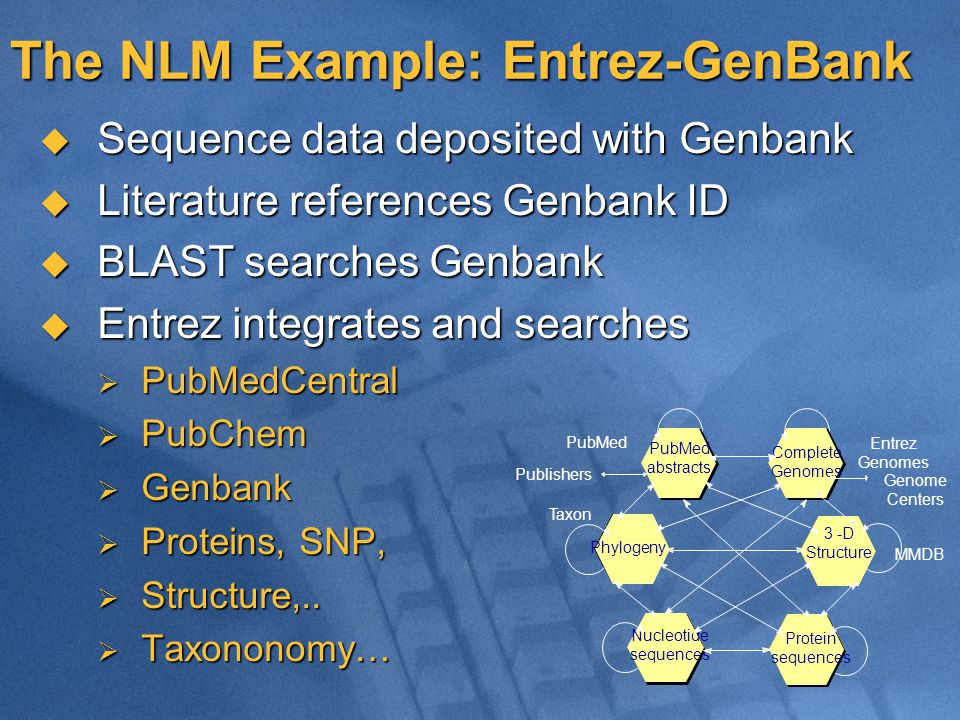 The NLM Example: Entrez-GenBank  Sequence data deposited with Genbank  Literature references Genbank ID  BLAST searches Genbank  Entrez integrates and searches  PubMedCentral  PubChem  Genbank  Proteins, SNP,  Structure,..