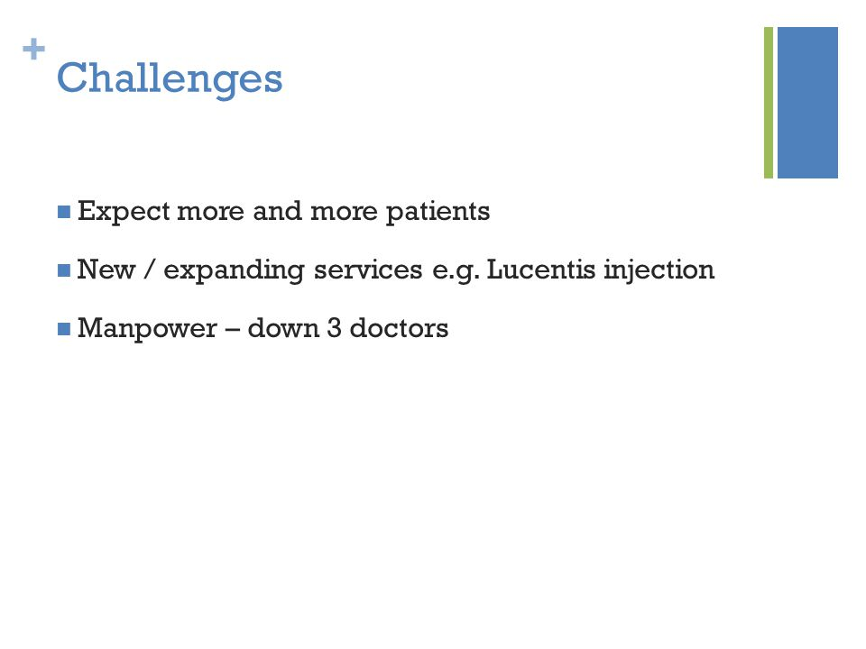 + Challenges Expect more and more patients New / expanding services e.g.