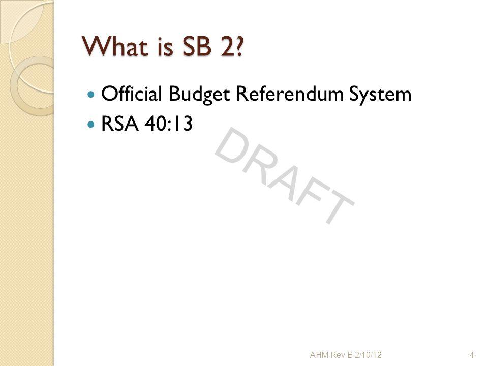 DRAFT What is SB 2? Official Budget Referendum System RSA 40:13 4AHM Rev B 2/10/12