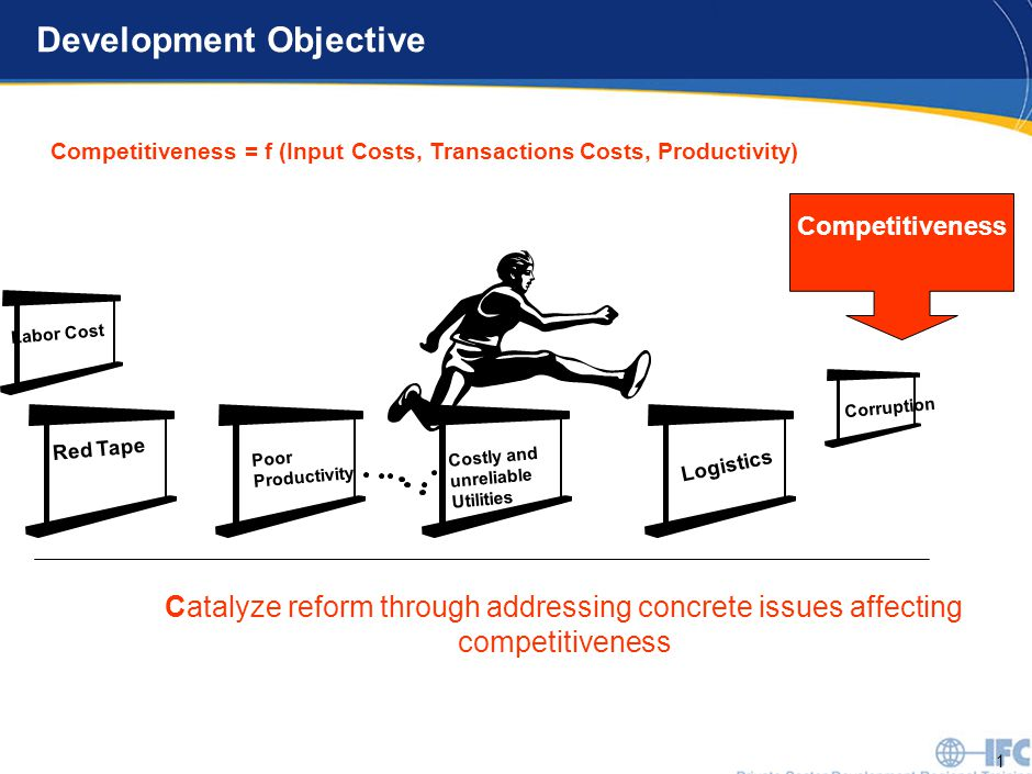 1 Development Objective Red Tape Poor Productivity Costly and unreliable Utilities Logistics Competitiveness Labor Cost Corruption Catalyze reform through addressing concrete issues affecting competitiveness Competitiveness = f (Input Costs, Transactions Costs, Productivity)