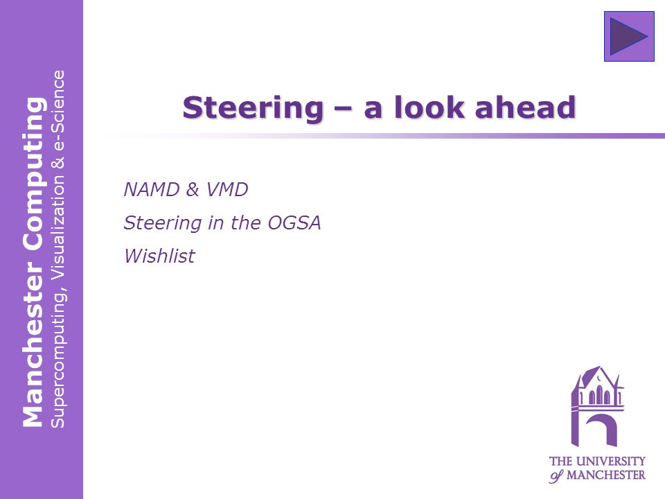 Manchester Computing Supercomputing, Visualization & e-Science Steering – a look ahead NAMD & VMD Steering in the OGSA Wishlist