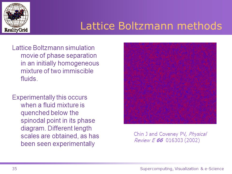 Supercomputing, Visualization & e-Science35 Lattice Boltzmann methods Lattice Boltzmann simulation movie of phase separation in an initially homogeneous mixture of two immiscible fluids.