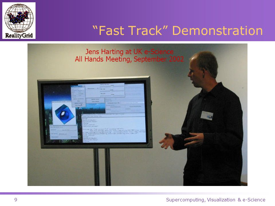 Supercomputing, Visualization & e-Science9 Fast Track Demonstration Jens Harting at UK e-Science All Hands Meeting, September 2002