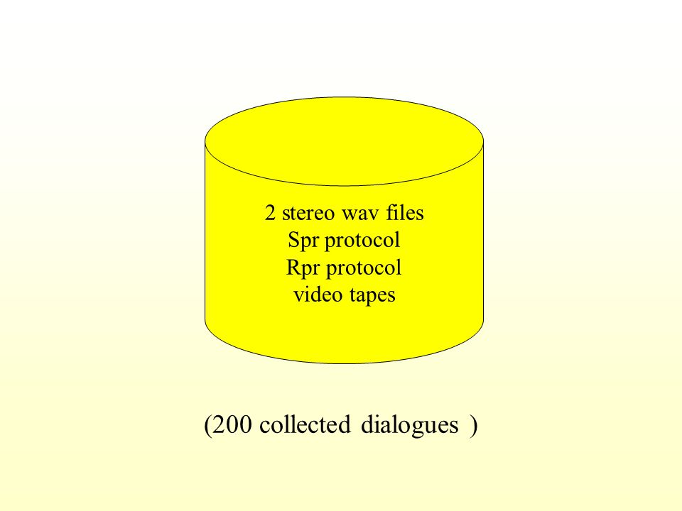 2 stereo wav files Spr protocol Rpr protocol video tapes (200 collected dialogues )