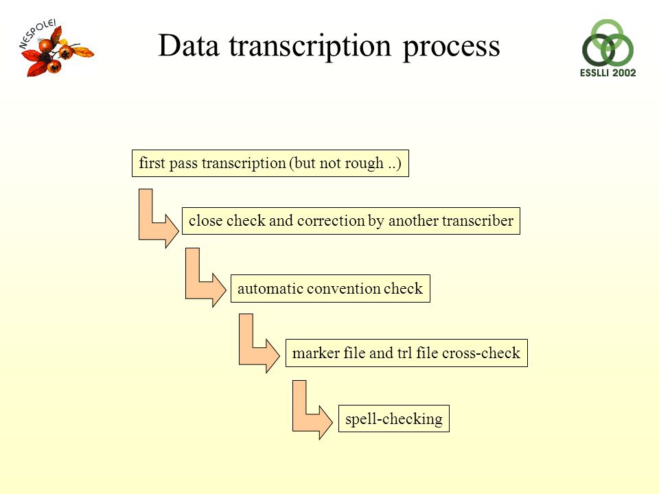 automatic convention check close check and correction by another transcriber spell-checking marker file and trl file cross-check first pass transcription (but not rough..) Data transcription process