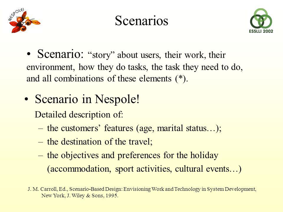 Scenarios Scenario in Nespole.