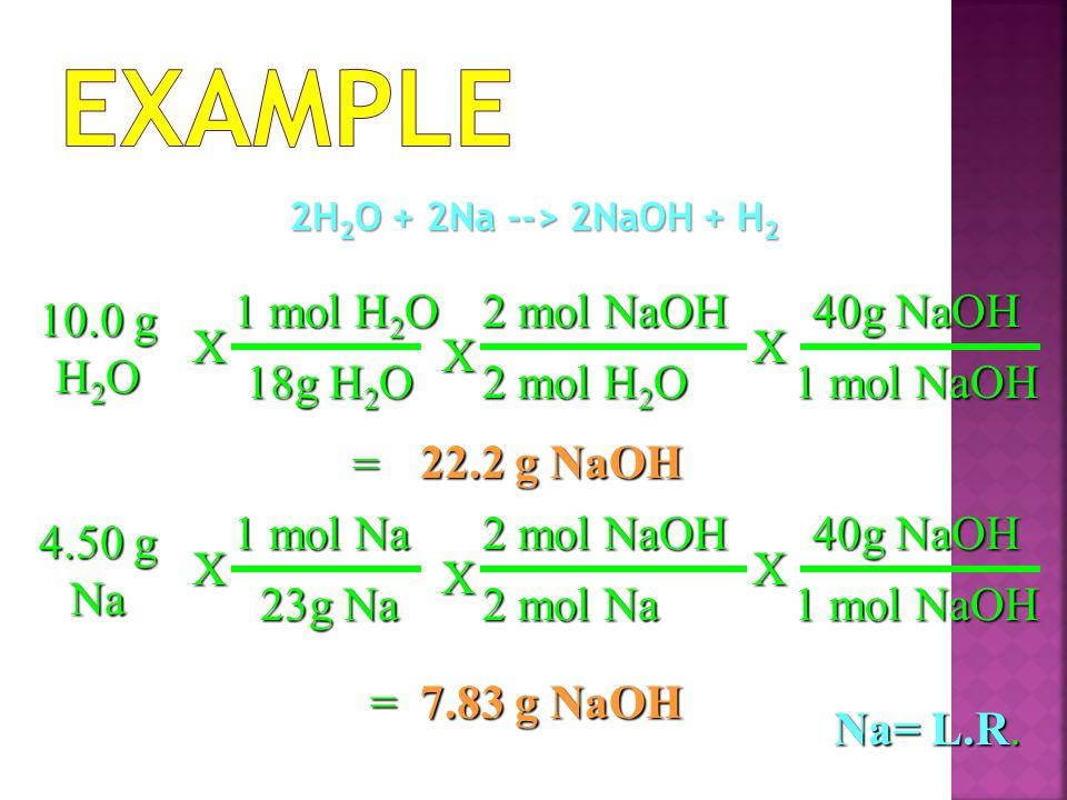 2H 2 O + 2Na --> 2NaOH + H 2 22.2 g NaOH X 2 mol NaOH 2 mol H 2 O = 10.0 g H 2 O X 18g H 2 O 1 mol H 2 O 40g NaOH 1 mol NaOH X 7.83 g NaOH X 2 mol NaOH 2 mol Na = 4.50 g Na X 23g Na 1 mol Na 40g NaOH 1 mol NaOH X Na= L.R.
