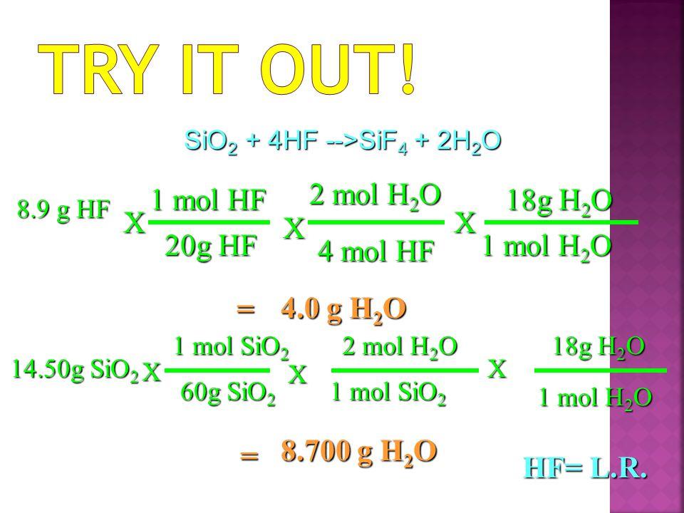 4.0 g H 2 O X 4 mol HF 2 mol H 2 O = 8.9 g HF X 20g HF 1 mol HF 18g H 2 O 1 mol H 2 O X 8.700 g H 2 O X 2 mol H 2 O 1 mol SiO 2 = 14.50g SiO 2 X 60g SiO 2 1 mol SiO 2 18g H 2 O 1 mol H 2 O X HF= L.R.
