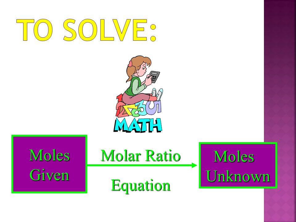 Molar Ratio Equation Moles Given Moles Unknown