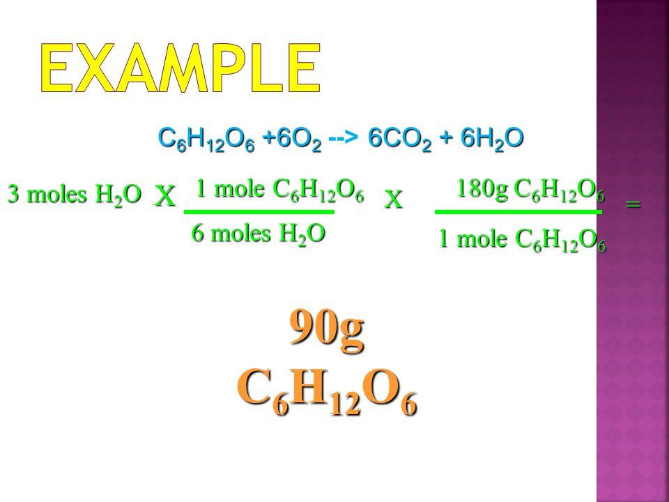 3 moles H 2 O X 1 mole C 6 H 12 O 6 6 moles H 2 O = 90g C 6 H 12 O 6 X 180g C 6 H 12 O 6 1 mole C 6 H 12 O 6 C 6 H 12 O 6 +6O 2 6CO 2 + 6H 2 O C 6 H 12 O 6 +6O 2 --> 6CO 2 + 6H 2 O
