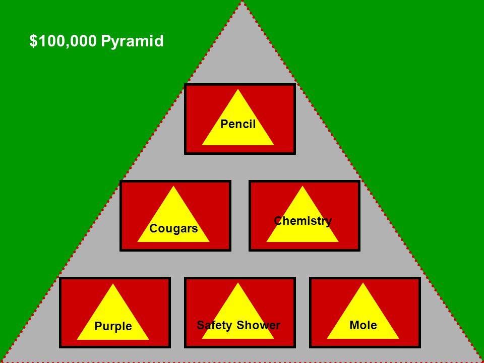 Pencil Cougars Chemistry Purple Safety ShowerMole $100,000 Pyramid