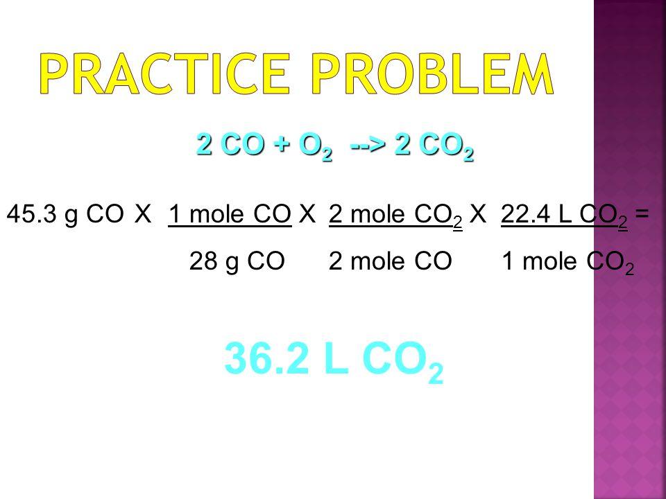 45.3 g CO X1 mole CO X 28 g CO 2 mole CO 2 X 2 mole CO 22.4 L CO 2 = 1 mole CO 2 36.2 L CO 2 2 CO + O 2 --> 2 CO 2