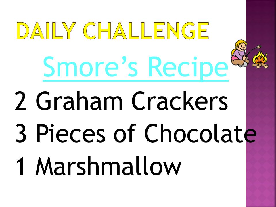 Smore's Recipe 2 Graham Crackers 3 Pieces of Chocolate 1 Marshmallow