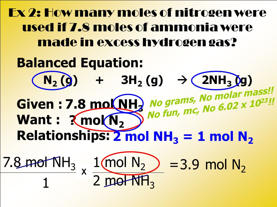 = mol N 2 Ex 2: How many moles of nitrogen were used if 7.8 moles of ammonia were made in excess hydrogen gas.