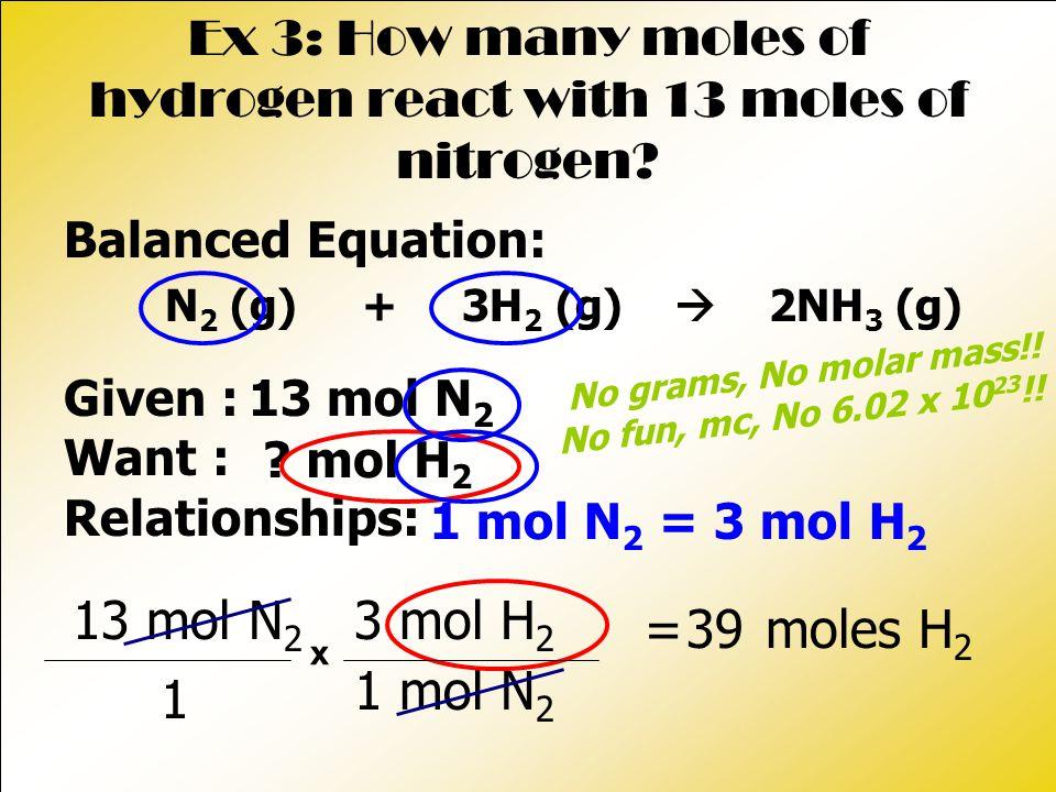 = moles H 2 Ex 3: How many moles of hydrogen react with 13 moles of nitrogen? Balanced Equation: N 2 (g) + 3H 2 (g)  2NH 3 (g) 1 13 mol N 2 1 mol N 2