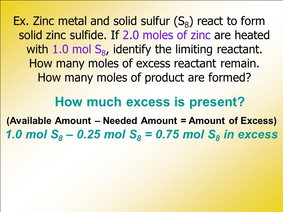 How much excess is present.