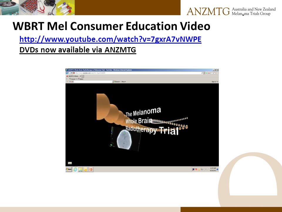 WBRT Mel Consumer Education Video http://www.youtube.com/watch?v=7gxrA7vNWPE DVDs now available via ANZMTG
