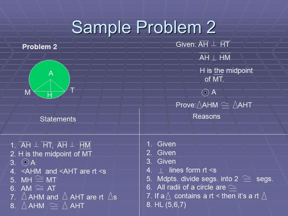 Sample Problem 2 Problem 2 Given: AH HT AH HM H is the midpoint of MT.