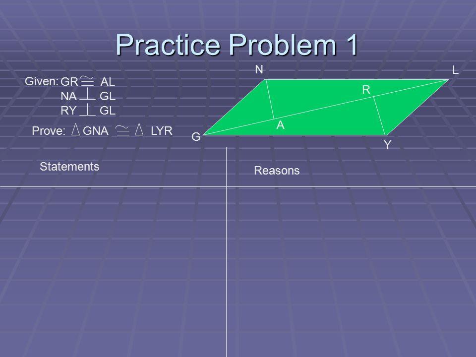 Practice Problem 1 G N A R Y L Given: GR AL NA GL RY GL Prove: GNA LYR Statements Reasons