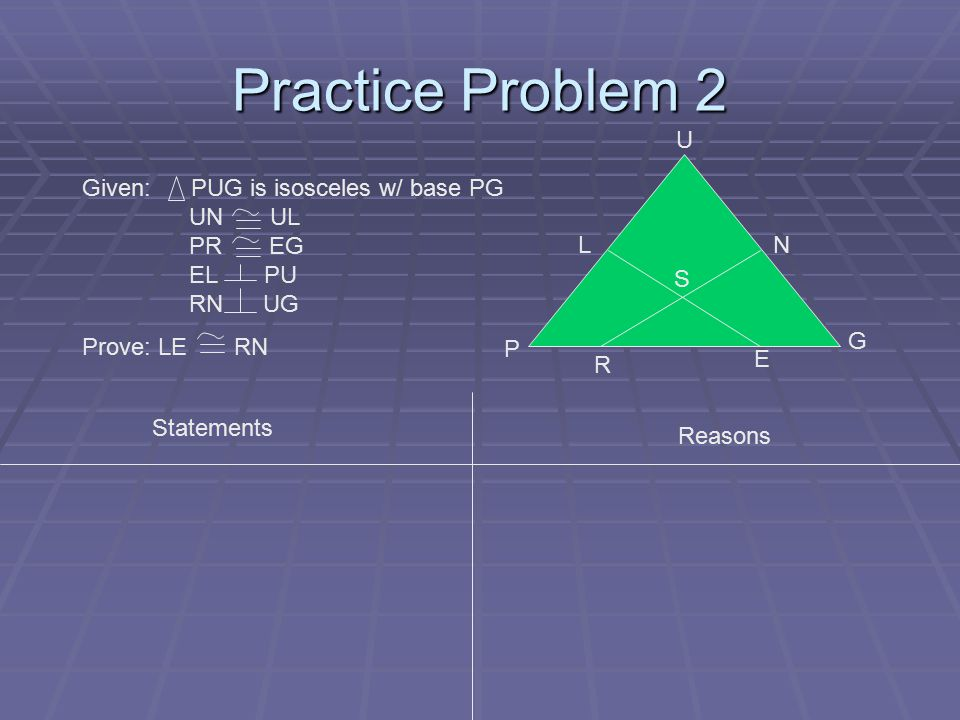 Practice Problem 2 P L U G E R S Given: PUG is isosceles w/ base PG UN UL PR EG EL PU RN UG Prove: LE RN N Statements Reasons