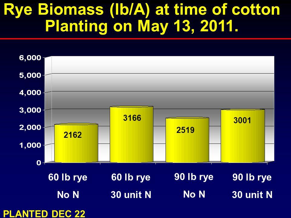 3166 2162 3001 60 lb rye No N Rye Biomass (lb/A) at time of cotton Planting on May 13, 2011. 60 lb rye 30 unit N 90 lb rye No N 90 lb rye 30 unit N 25