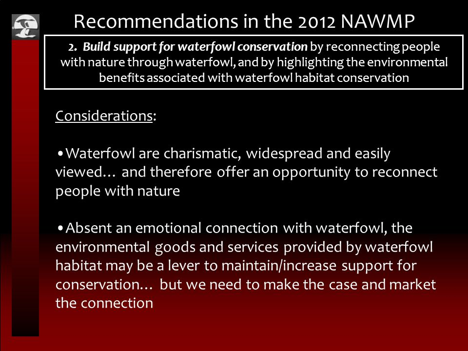 Recommendations in the 2012 NAWMP 2.