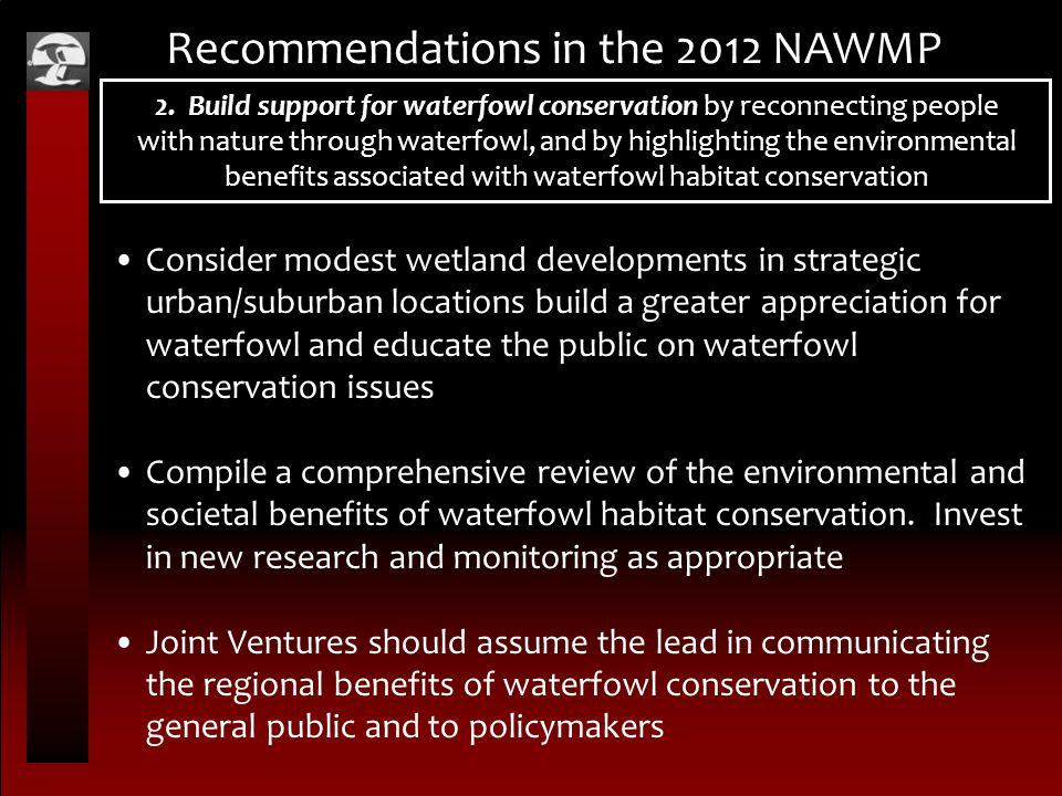 Recommendations in the 2012 NAWMP 2. Build support for waterfowl conservation by reconnecting people with nature through waterfowl, and by highlightin