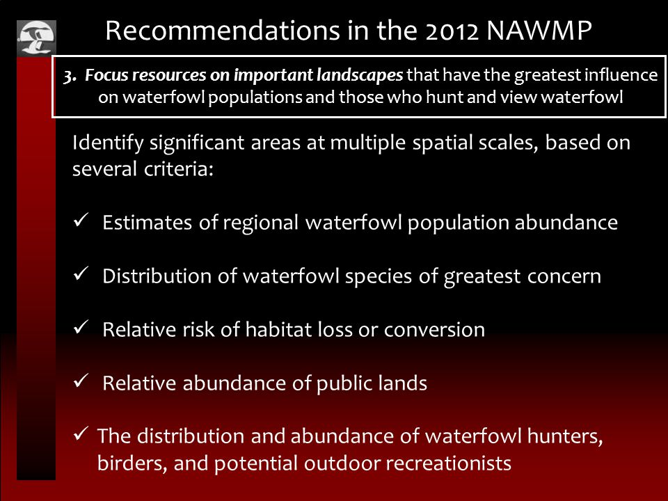 Recommendations in the 2012 NAWMP Identify significant areas at multiple spatial scales, based on several criteria: Estimates of regional waterfowl population abundance Distribution of waterfowl species of greatest concern Relative risk of habitat loss or conversion Relative abundance of public lands The distribution and abundance of waterfowl hunters, birders, and potential outdoor recreationists 3.