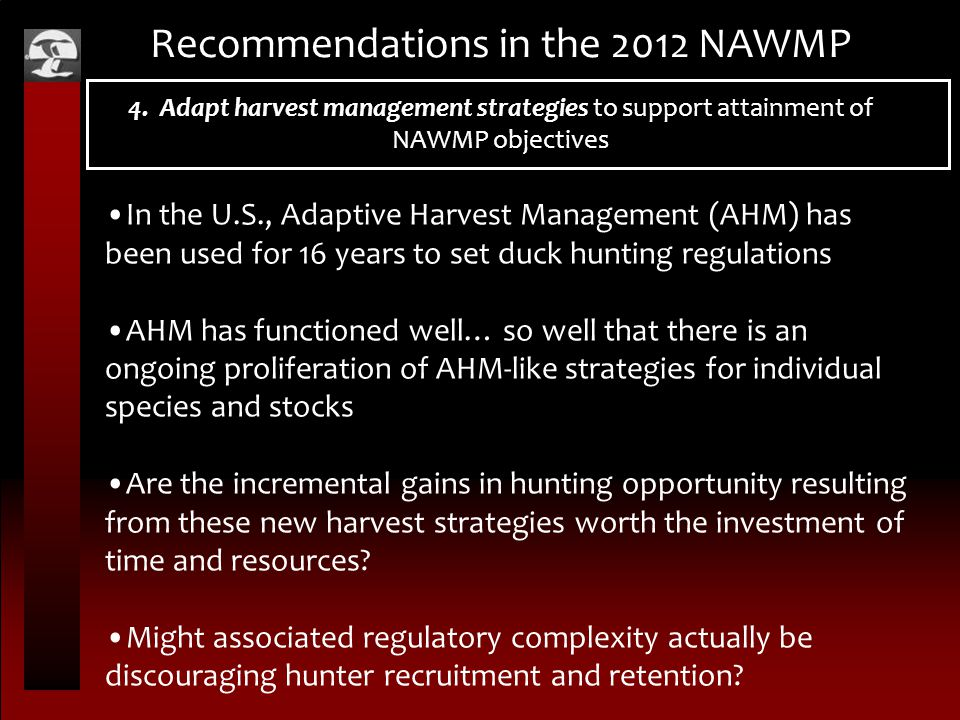 Recommendations in the 2012 NAWMP 4. Adapt harvest management strategies to support attainment of NAWMP objectives In the U.S., Adaptive Harvest Manag