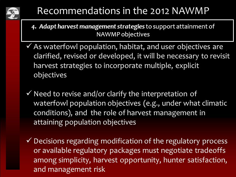 Recommendations in the 2012 NAWMP 4.