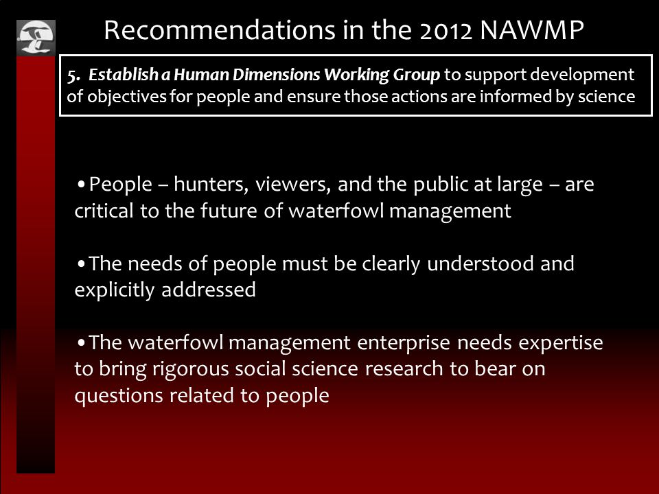 Recommendations in the 2012 NAWMP 5.