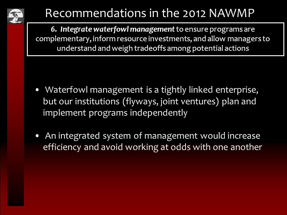 Recommendations in the 2012 NAWMP 6.