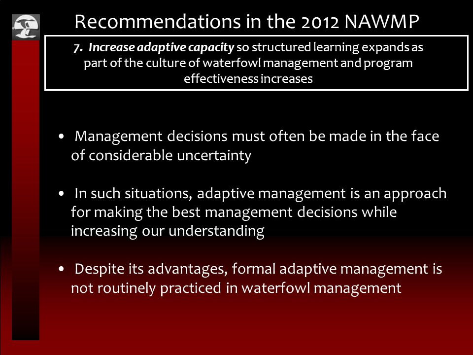 Recommendations in the 2012 NAWMP 7.