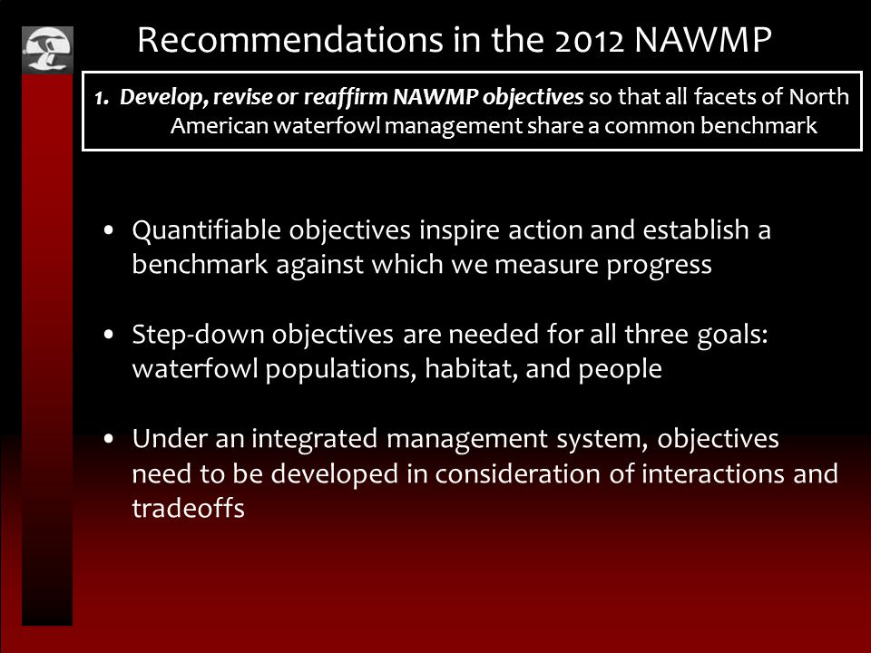 1. Develop, revise or reaffirm NAWMP objectives so that all facets of North American waterfowl management share a common benchmark Recommendations in
