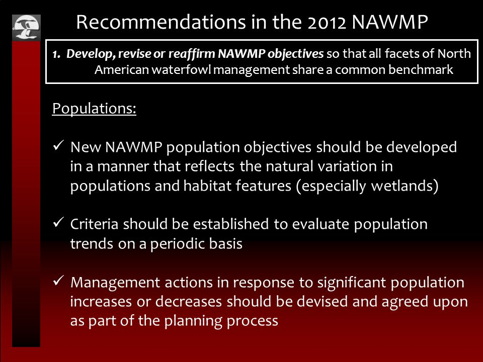Recommendations in the 2012 NAWMP Populations: New NAWMP population objectives should be developed in a manner that reflects the natural variation in populations and habitat features (especially wetlands) Criteria should be established to evaluate population trends on a periodic basis Management actions in response to significant population increases or decreases should be devised and agreed upon as part of the planning process 1.