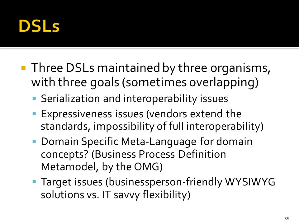  Three DSLs maintained by three organisms, with three goals (sometimes overlapping)  Serialization and interoperability issues  Expressiveness issues (vendors extend the standards, impossibility of full interoperability)  Domain Specific Meta-Language for domain concepts.