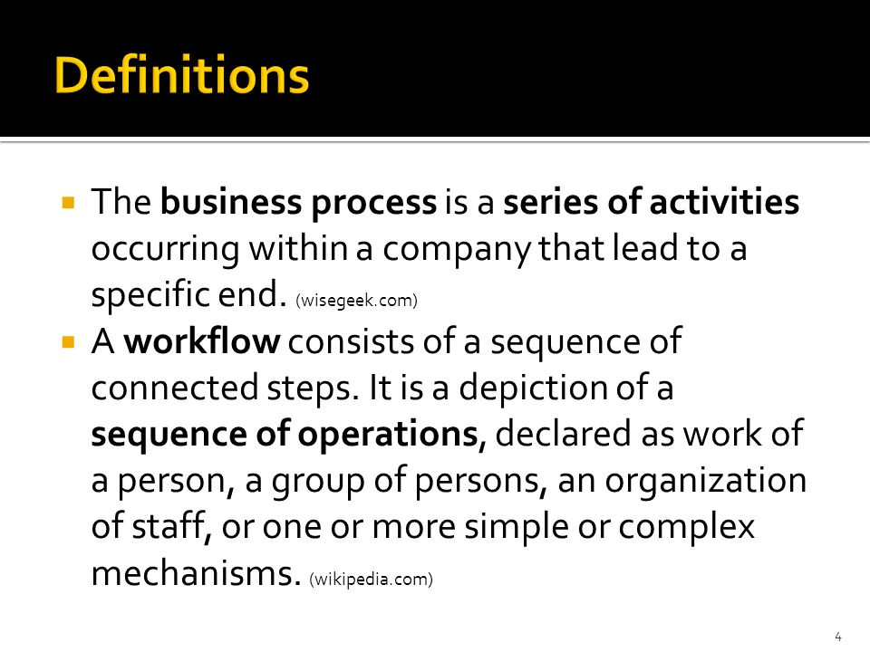  The business process is a series of activities occurring within a company that lead to a specific end.