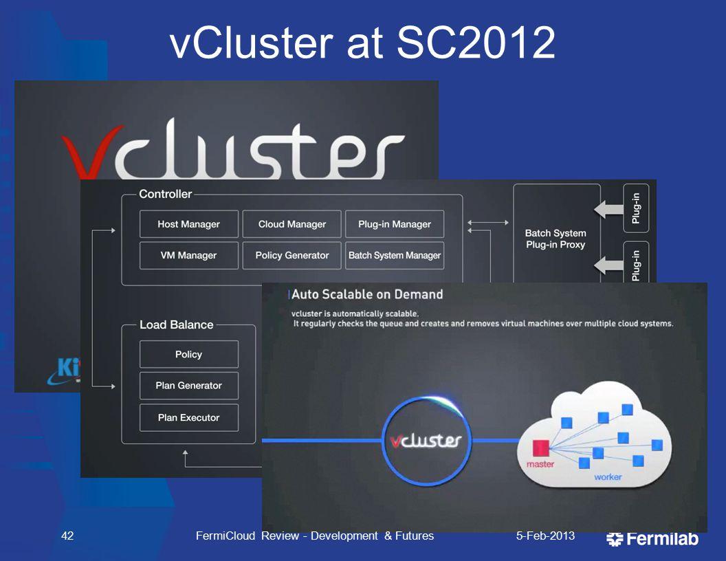 42 vCluster at SC2012 5-Feb-2013FermiCloud Review - Development & Futures