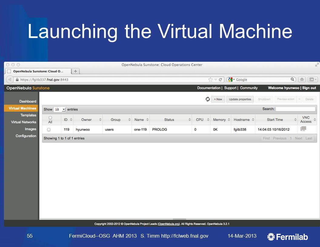 Launching the Virtual Machine 14-Mar-2013FermiCloud--OSG AHM 2013 S. Timm http://fclweb.fnal.gov55