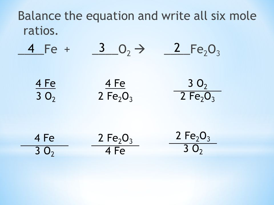 Balance the equation and write all six mole ratios.