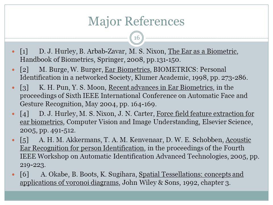 Major References [1]D. J. Hurley, B. Arbab-Zavar, M.