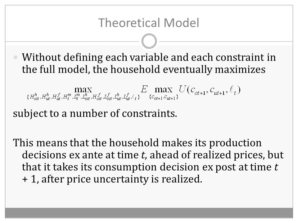 Theoretical Model Without defining each variable and each constraint in the full model, the household eventually maximizes subject to a number of constraints.