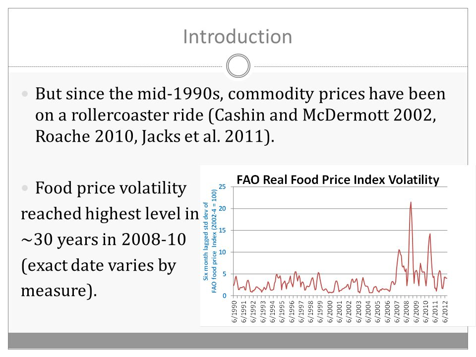 Introduction But since the mid-1990s, commodity prices have been on a rollercoaster ride (Cashin and McDermott 2002, Roache 2010, Jacks et al.