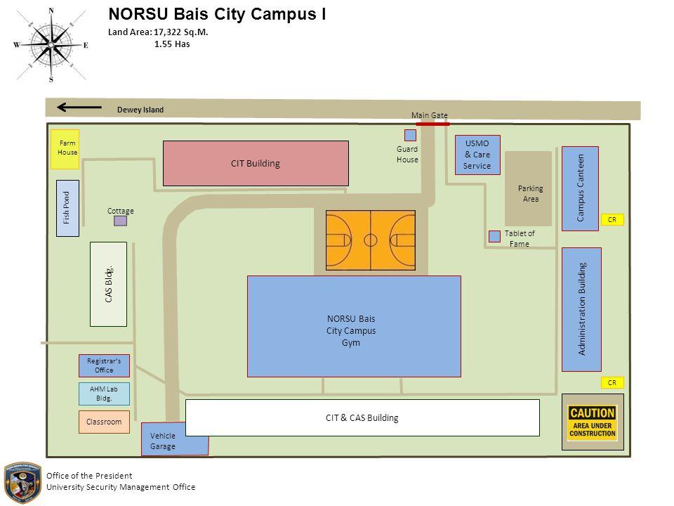 NORSU Bais City Campus I CIT Building USMO & Care Service Campus Canteen CR Administration Building CR CIT & CAS Building Vehicle Garage Classroom AHM