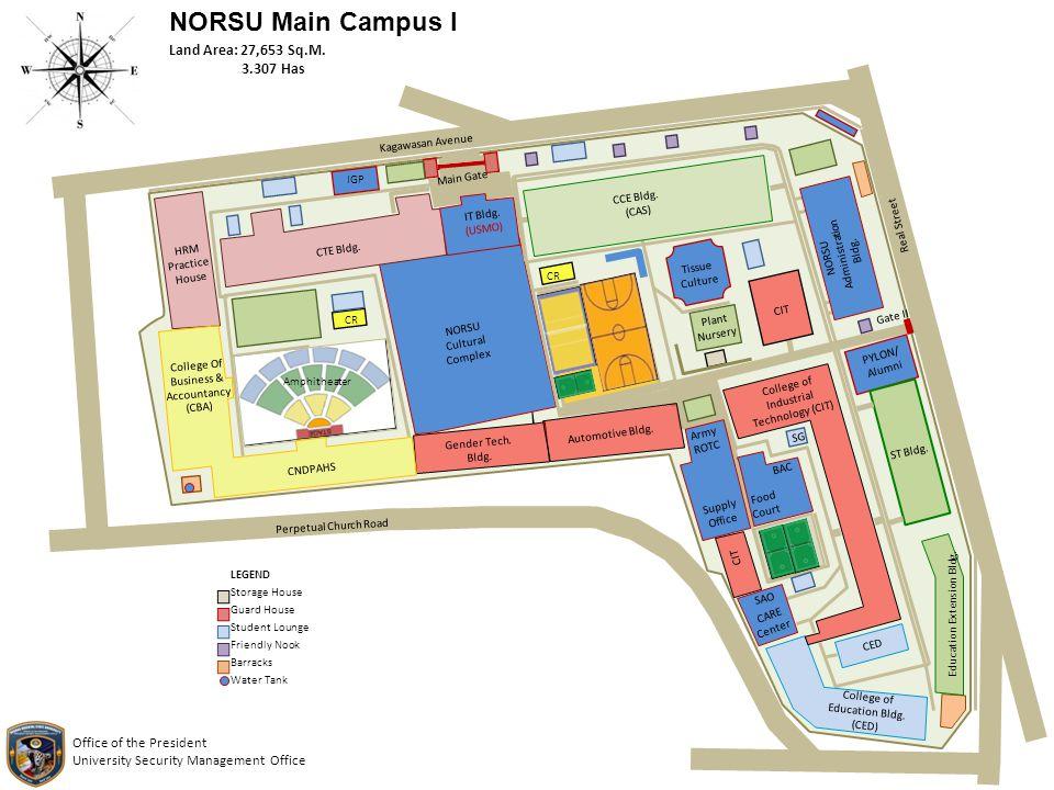 NORSU Main Campus I IT Bldg. (USMO) NORSU Cultural Complex Amphitheater CR College Of Business & Accountancy (CBA) CNDPAHS HRM Practice House CTE Bldg