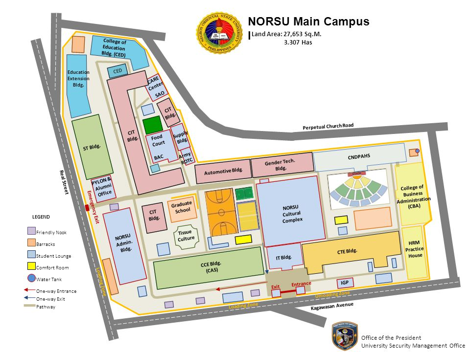 NORSU Main Campus I Office of the President University Security Management Office NORSU Cultural Complex CCE Bldg. (CAS) ST Bldg. CTE Bldg. HRM Practi
