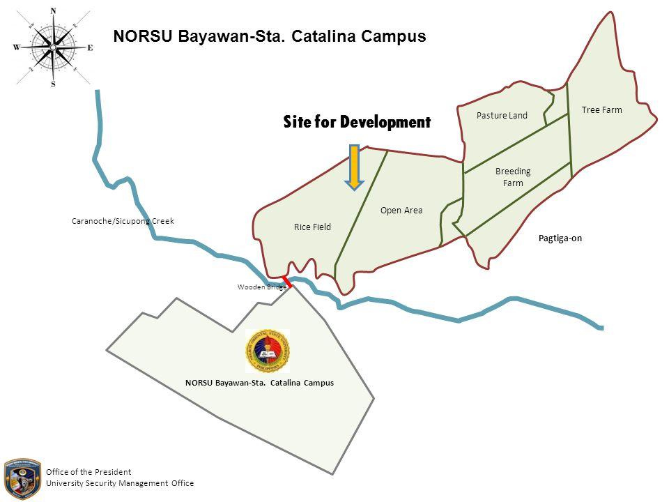 Site for Development NORSU Bayawan-Sta. Catalina Campus Caranoche/Sicupong Creek NORSU Bayawan-Sta. Catalina Campus Rice Field Open Area Breeding Farm