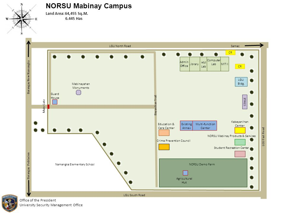 NORSU Mabinay Campus Main Gate Bayanihan Trail Guard House Mabinayahan Monuments Namangka Elementary School Admin Office Library HM Lab Computer Lab M