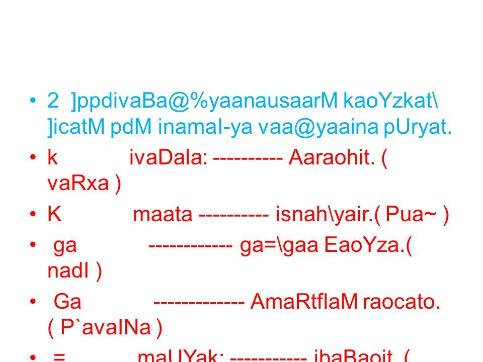 2 ]ppdivaBa@%yaanausaarM kaoYzkat\ ]icatM pdM inamaI-ya vaa@yaaina pUryat. k ivaDala: ---------- Aaraohit. ( vaRxa ) K maata ---------- isnah\yair.( P