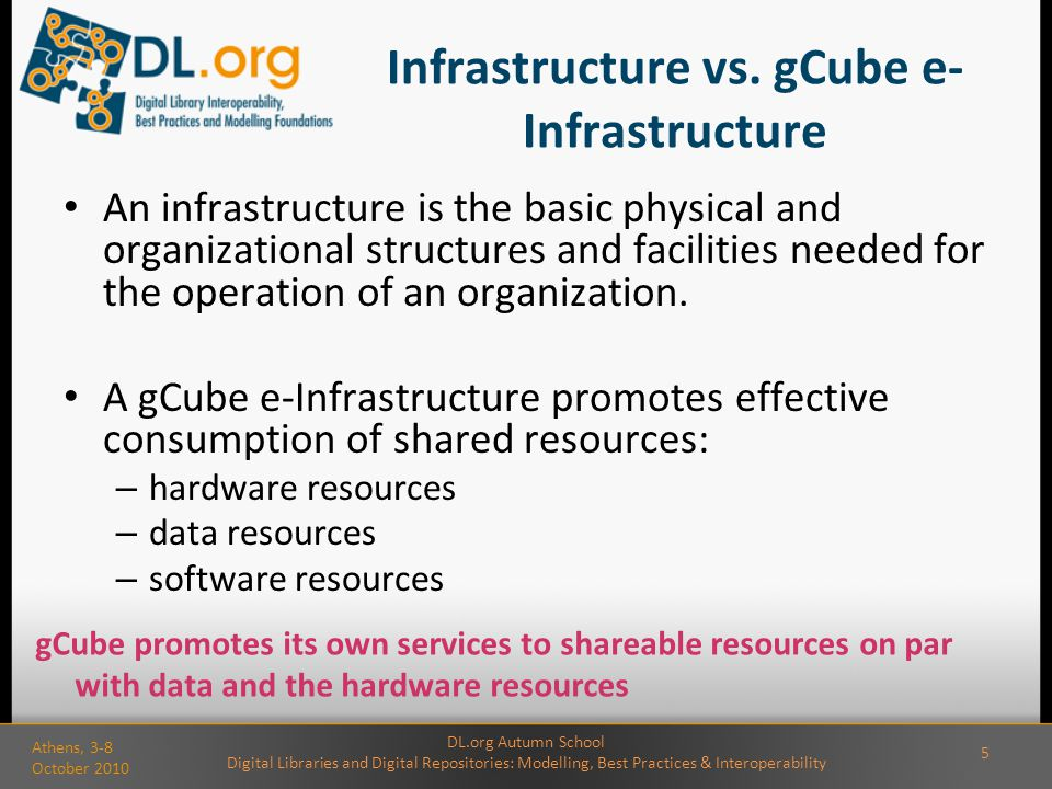 Infrastructure vs. gCube e- Infrastructure An infrastructure is the basic physical and organizational structures and facilities needed for the operati
